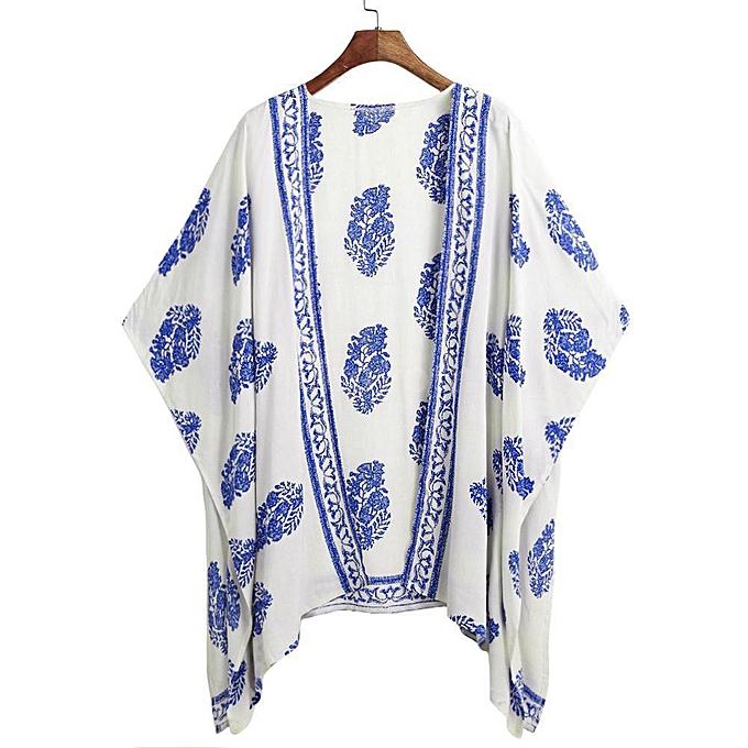 5e69ac1af Women Floral Print Beach Loose Shawl Kimono Cardigan Top Cover Blouse-Blue.