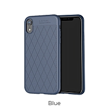 Rhombus Pattern Holes Protective Soft TPU Back Cover Phone Case For IPHONE XS Plus/9/XS/X Blue