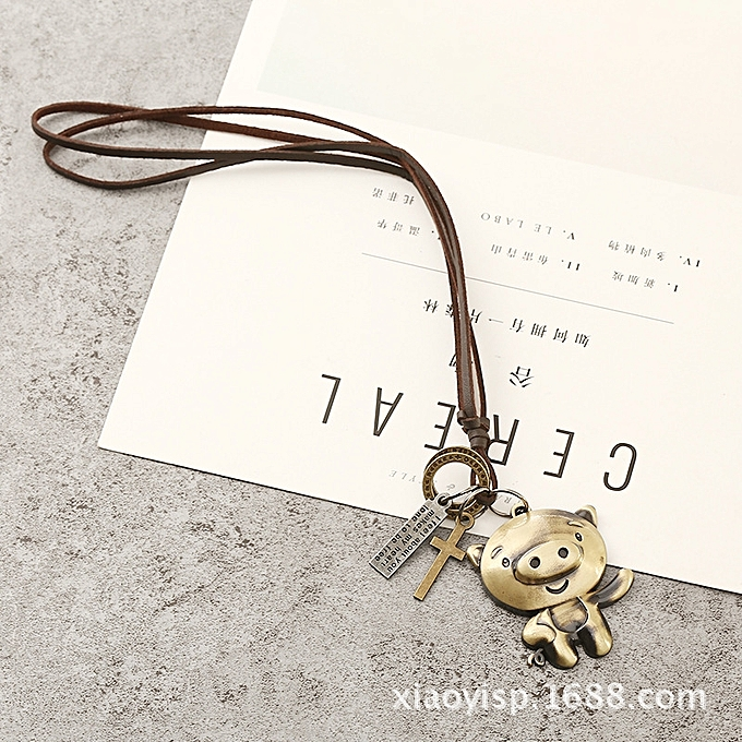 Yi however the decoration current men and women's private's PU skin  necklace 12 Chinese Zodiac Sign pig the metal alloy mourn to fall to a  decoration