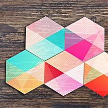 10pcs/1set Rainbow Hexagonal Tile Sticking Bathroom Kitchen Home Anti-skid Floor Sticking Diy Creative Stitching Wall Sticking