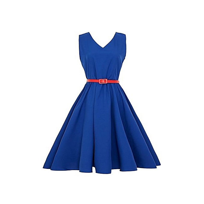 5a2a22b5dcac Technologg Dress Women Vintage Bodycon Sleeveless Casual Retro Evening  Party Prom Swing Dress-Blue