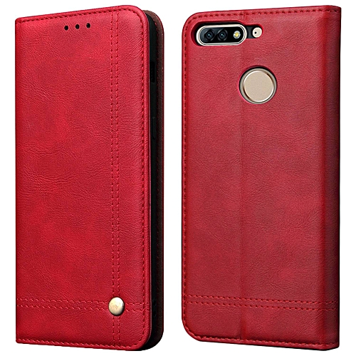 finest selection 87eb9 eb665 Huawei Y7 Prime 2018 Case,Vintage Button Decoration PU Leather Wallet Case  Magnetic Flip Stand Card Slot Holders Protective Cover for Huawei Y7 Prime  ...