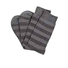 5-Pack Men's Socks - Brown Striped/Navy Blue/Grey/Light Grey/Black