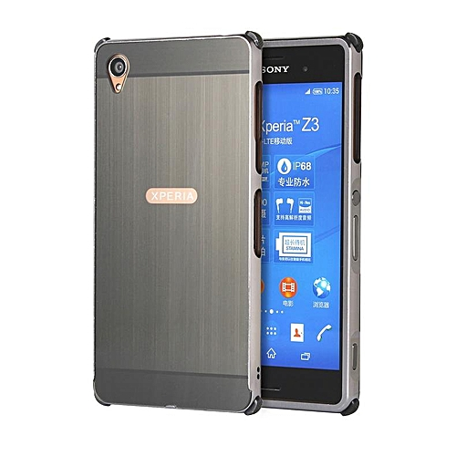 brand new 73e5c c5555 For Sony Xperia Z3, Metal Bumper And Wire Drawing PC Back Cover Protector  Case For Sony Xperia Z3