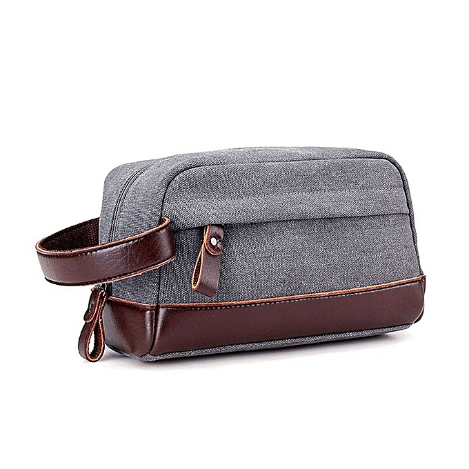 f9aae4388a13 High Quality Zipper Men Travel Canvas Toiletry Bag Wash Shower Makeup  Organizer Portable Case Pouch Faux Leather(Gray)
