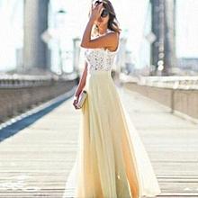 Lace Stitching Chiffon Super Long Dress Skirt Sleeveless For Women Ladies