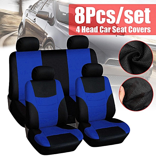 Universal Auto Full Set Car Seat Covers Polyester Front Rear 4 Heads 6 Color