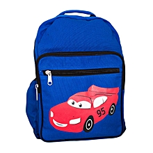 Blue Canvas Designer School Bag  Decorated With Red Car Decoration