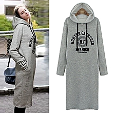 Women Hooded Letter Dress - Gray