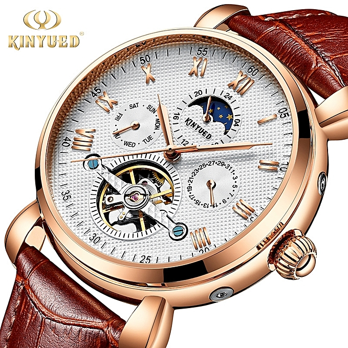 Brand automatic sun, moon, star, fashion, leather watch, men's hollowed out