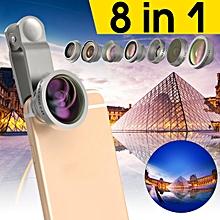 Universal 8in1 Clip-On Wide Angle+Super Fisheye+Macro Phone Camera Lens kit