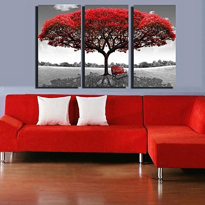 Large 3PC Red Tree HD Canvas Print Home Decor Wall Art Painting Picture No Frame