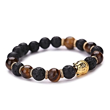 bluerdream-Women Men Bracelet Buddha Elastic Beaded Bracelet Chain Charm Bracelets Jewelry-Gold