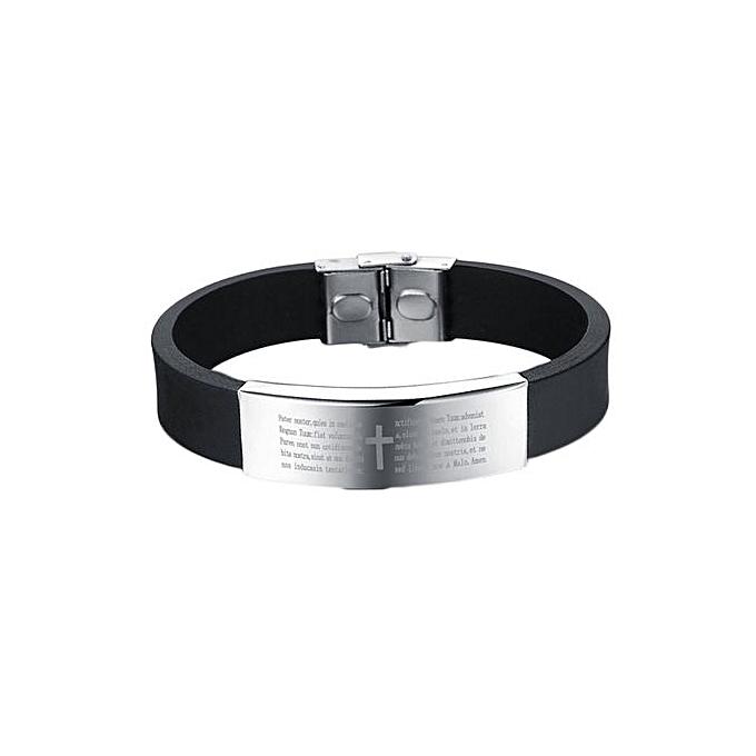 930582b4139302 Tanson Fancy Silicone Men Bracelets Religious Jesus Bible Cross Design Men  Jewelry (Color: Black