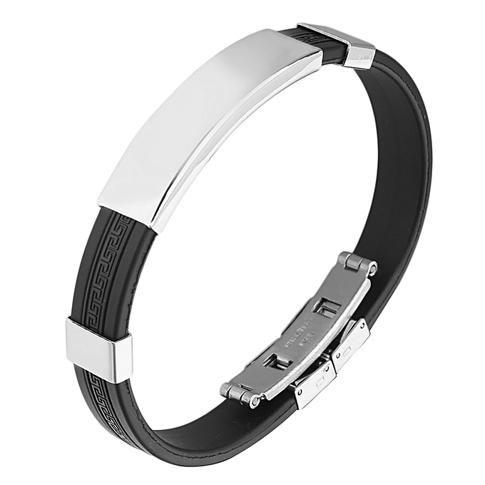 Buy Allwin Men S Cool Rubber Stainless Steel Wristband Clasp Cuff