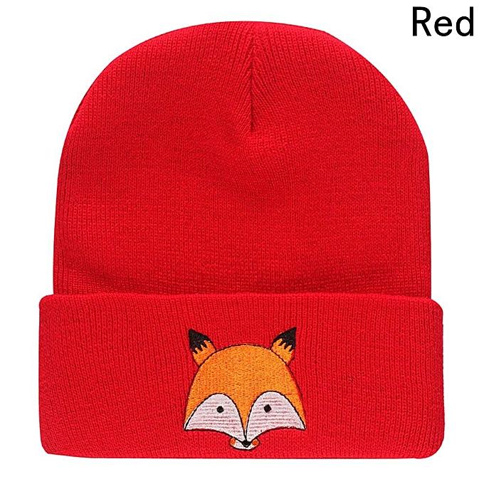 Buy Fashion New Trend Fox Pattern Knitted Hat Women Men Autumn