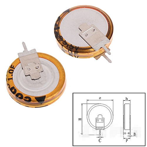 2 Pcs Universal 5 5 V 1 0F Super Capacitor V-Type Button Smart 5mm  Capacitance Z09