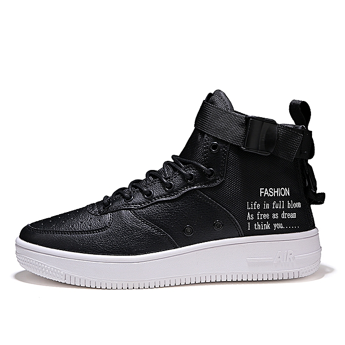 low priced 683d7 2390d Unisex Sneakers AF1 New High Top Canvas Casual Shoes Black