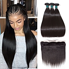 Straight Human Hair Bundles with Frontal Grade 9A Brazilian Hair Weave Extension