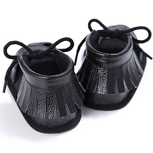 ecfe1f37c YiQu bluerdream-Newborn Girls Boys Crib Shoes Soft Sole Anti-slip Baby  Sneakers Tassel Sandals- Black
