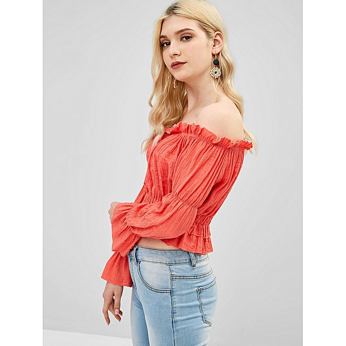 2311feb95a5 Frilled Ruched Off The Shoulder Blouse,Bean Red
