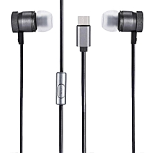 USB Type-C Metal Earbuds Noise Isolating Stereo Earphone with Microphone DEEP GRAY BDZ