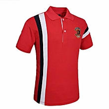 Fashion Stripe Men's Casual Polyester Summer Short Sleeves Polo Shirts-Red