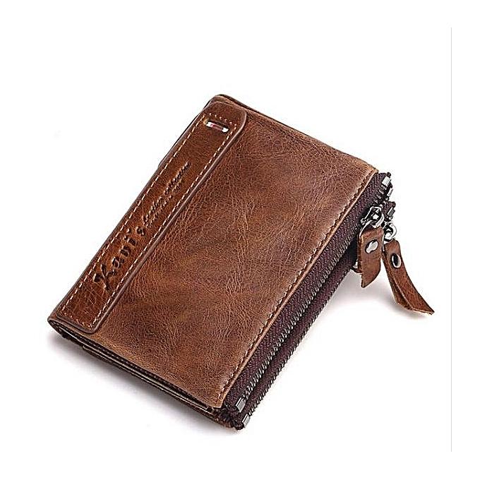 45d201eae6e Fashion 100% Genuine Leather Men Wallet Small Zipper Male Short Coin ...