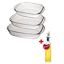 Duralex Oven Chef Glass Rectangular Baking Dishes/Roasters Set of 3 + FREE 250ml Oil Bottle