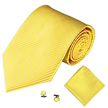Fohting 3PCS Classic Men Party Tie Necktie Pocket Square Handkerchief Cuff Link O -Yellow