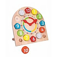 Children Kids Wood Wooden Learning 24 Hour Clock Creative Education Toy