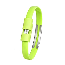 Wristband Micro USB Cable Charger Charging Data Sync For Cell Phone-Green