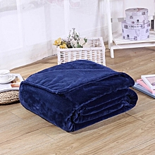 Navy Blue Plain Fleece Blanket Throw #160x220cm