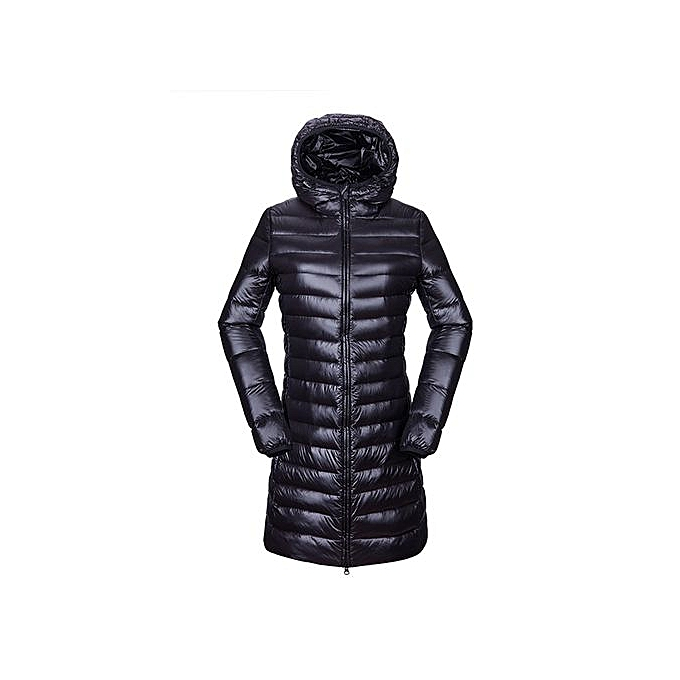 e2044c857 Women's Winter Warm Puffer Ultra Light Long Sleeve Duck Down Jacket  Windproof Hoodie Long Parka Coat Outerwear Black