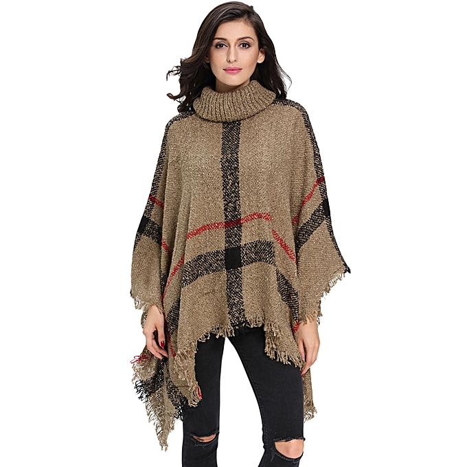 bc8a95e37 New Winter Women Knitted Poncho Cape Coat Stripe Tassel Turtleneck Warm  Shawl Pullover Cloak Sweater