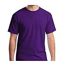 PURPLE Plain T-Shirt Round-neck