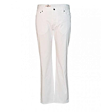 White Straight Fit Men's  Pants