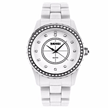 Women's Analog Display Crystal Japan Quartz Waterproof Wrist Watch(White)