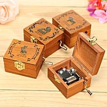 Mini Wooden Novelty Hand Crank DIY Slide Drawer Music Box Birthday Gift-Horse