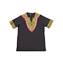 African dashiki  print  T-shirt - Black