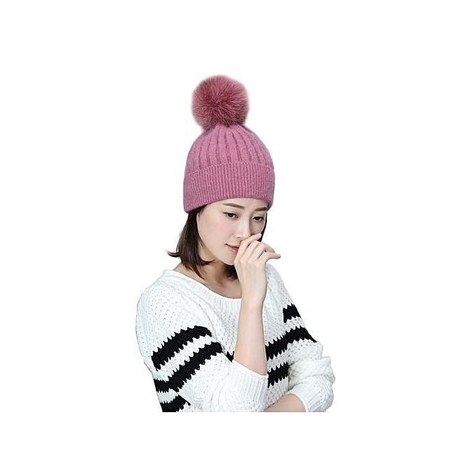 Zetenis Fashion Women Winter Woolen Knitted Woolen Warm Beanie Hat HOT -Hot  Pink 89cfe1e098a