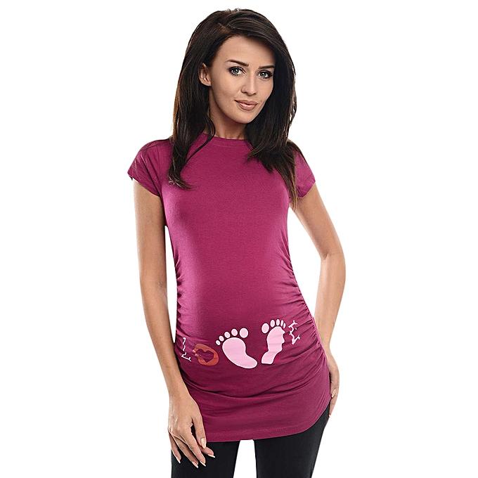 0338bd08425 Boapsd Shop Women s Short Sleeve Nurse Pregnant Maternity Tops Mother Print  T-Shirt Blouse