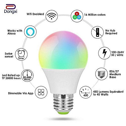 【Dongxi】Smart Ball Lamp Wifi Remote Control LED E27 Light LED White Bulb  Alexa Google Home Assistant Supports IOS And Android Sm