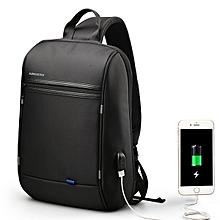 Men Waterproof Laptop Chest Bag Crossbody Bag Travel Business Bag with USB Charging Port