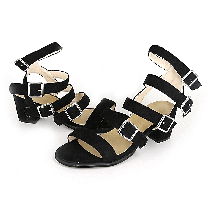 2c5cd86695a duanxinyv Womens Low Block Buckle Strap Summer Sandals Open Toe Shoes  Square Heel Sandals Made In China