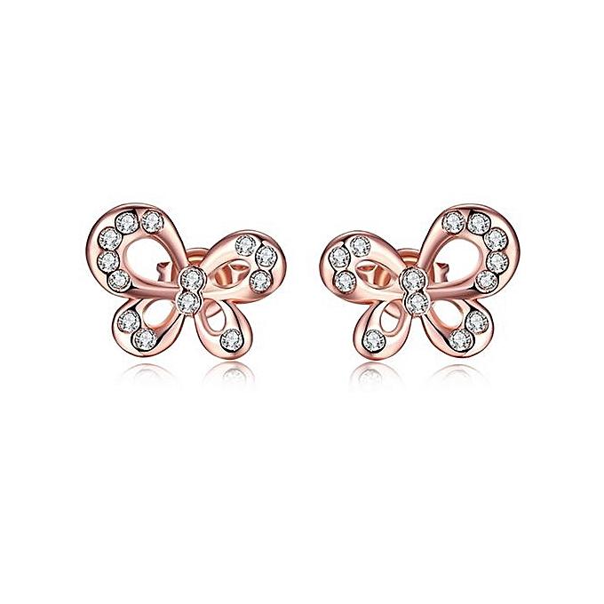 Olivaren Women Luxurious Imitation Diamond Bow Earrings Alloy Ear Stud Jewelry Rose Gold
