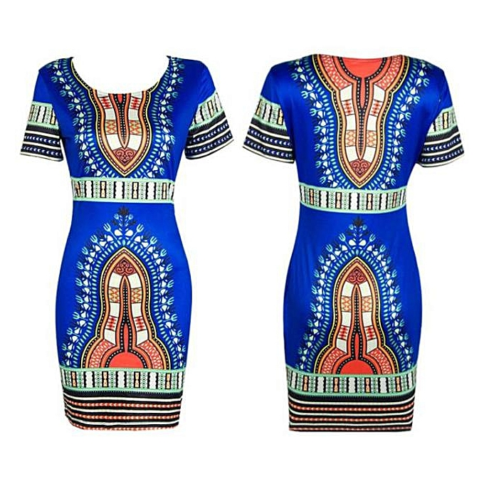 758f47f5a48 jiahsyc store Women Traditional African Print Dashiki Bodycon Sexy Short  Sleeve Dress Blue XXL-