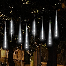 50CM Falling Rain Christmas Lights Waterproof LED Meteor Shower Lights With 9 Tube Icicle Snow Fall String Cascading Lights For  Holiday - White