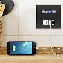 4 Ports LED Light USB Charger Wall Socket Charger Station For Construction Sites 220V Black