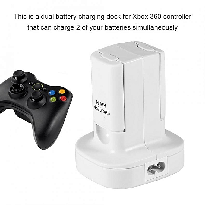 86959e6c4a99 Dual Battery Charger Charging Station Dock Stand for Xbox 360 Controller  White